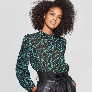 Black & teal long sleeve blouse NWT Who What Wear